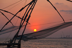 Chinese fishnets on sunset. Kochi, Stock Photography