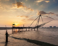 Chinese fishnets on sunset. Kochi, Kerala, India Stock Photography