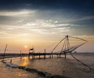 Chinese fishnets on sunset. Kochi, Kerala, India Stock Images