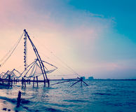 Chinese fishnets on sunset. Kochi, Kerala, India Stock Image