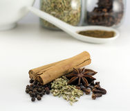 Chinese five spice powder ingredients. Chinese five spice powder spiced ingredients. Ingredients include cinnamon, star anise, peppercorn, fennel seeds, and Stock Images