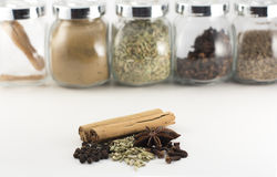 Chinese five spice powder ingredients. Chinese five spice powder spiced ingredients. Ingredients include cinnamon, star anise, peppercorn, fennel seeds, and Royalty Free Stock Photos