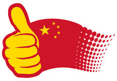 Chinese flag. China flag, Hand showing thumbs up Royalty Free Stock Images