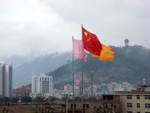 Chinese flag. The chinese flag in a chinese village Stock Images