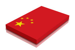 Chinese flag. 3d Render with reflection stock illustration