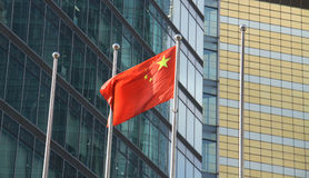 Chinese flag at a business area. China flag in a business area stock image