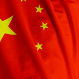Chinese Flag Closeup Stock Photo