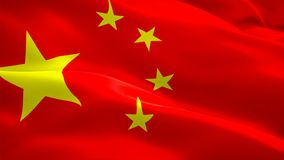 Chinese flag Closeup 1080p Full HD 1920X1080 footage video waving in wind. National 3d Chinese flag waving. Sign of China seamless