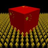 Chinese flag cube surrounded by people Royalty Free Stock Photography