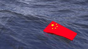 Chinese flag drowning in the ocean crisis concept. Chinese flag drowning in the ocean China crisis concept 3D illustration Stock Photos