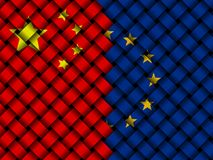 China EU interwoven flags illustration. Chinese flag and European Union flag interwoven in abstract 3d illustration Stock Photography