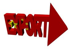 Chinese flag export with arrow Stock Images