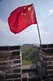 Chinese flag on the Great Wall of China Stock Image