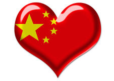 Chinese flag in heart illustration Stock Photo