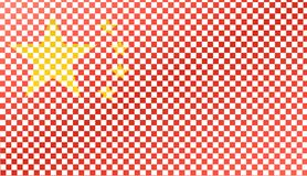 Chinese flag like a chessboard, 3D illustration Stock Images