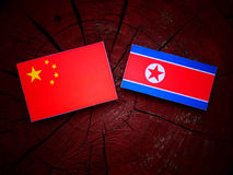 Chinese flag with North Korean flag on a tree stump  Royalty Free Stock Image
