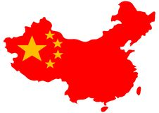 Chinese Flag On Country Map Stock Image