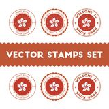 Chinese flag rubber stamps set. Royalty Free Stock Photography