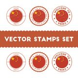 Chinese flag rubber stamps set. National flags grunge stamps. Country round badges collection Stock Image