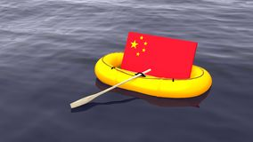 Chinese flag swimming in a yellow rubber boat alone. On the ocean save China concept 3D illustration Stock Photography