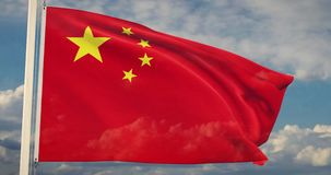Chinese Flag Waving Is A Banner For The People`s Republic Of China - 4k 30fps Slow Motion Video