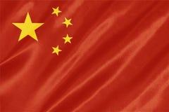 China Flag. Waving on satin texture royalty free stock image