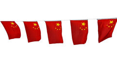 Chinese flags garland isolated on white Stock Photography