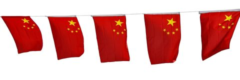 Chinese flags garland isolated on white stock photo
