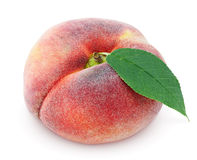 Chinese flat donut peach with leaf on white Stock Photos