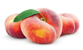 Chinese Flat Donut Peaches With Leaf On White Stock Photos