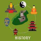 Chinese flat landmarks and religion icons Stock Image