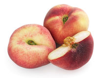 Chinese flat peaches with half Royalty Free Stock Photos