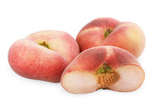Chinese flat peaches with half Stock Photos