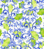 Chinese floral ornament pattern and green ginko leaves. Royalty Free Stock Photography