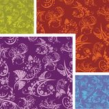 Chinese Floral - seamless pattern set. Royalty Free Stock Photos