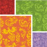 Chinese Floral - seamless pattern set. Stock Image