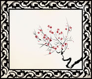 Chinese flower drawing Royalty Free Stock Photo