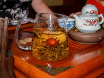 Chinese flower tea at transparent glass teapot Royalty Free Stock Image