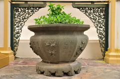 Chinese flowerpot with nice background. Royalty Free Stock Photos