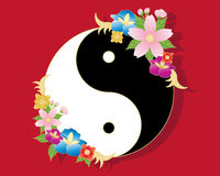 Chinese flowers. An illustration of a chinese yinyang symbol in black and white with stylized oriental flower decoration on a red background Stock Images