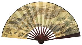 "Chinese folding fan. China yellow paper folding fan with Chinese antique famous ink painting of ""Qingming riverside seine"" isolated on white Royalty Free Stock Photos"