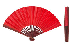 Chinese folding fan, open and close isolated on white. 