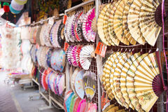 Chinese folding fans in the shop at Chinatown, Singapore Stock Photo