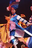 Chinese folk dance. He Lishui Sands performance show everynight in lijiang old town culture center of china.this means happiness of harvest.Lishui Sands minority stock photo