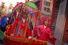 Chinese folk dance actress. Chinese folk entertainment activities performance during the Spring Festival on the traditional street in Shandong, China, for the Royalty Free Stock Image