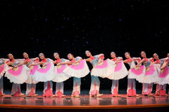 Chinese folk dance- Fan queue Royalty Free Stock Photography