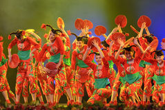 Chinese folk dance : Hot girls. CHENGDU - DEC 10: Group dance Hot girls performed by Sichuan Song And Dance Troupe at Golden theater in the 7th national dance Stock Image