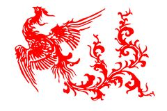 The paper cut of the phoenix vector illustration