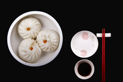 Chinese food. Steamed stuffed bun, one of Chinese Cuisine. People in China called Baozi Stock Image