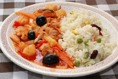 Chinese food. Close up with  chinese food on a plate Royalty Free Stock Photography